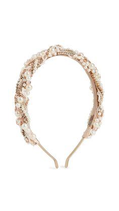 Deepa Gurnani Kristina Headband In Gold Deepa Gurnani, Central Saint Martins, Lace Headbands, Hat Hairstyles, India Fashion, Hair Accessories, Pearls, Crystals, Unique