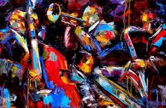 Jazz Connections abstract music painting art by Debra Hurd, painting by artist Debra Hurd