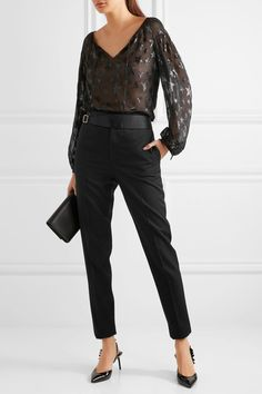 Saint Laurent - Satin-trimmed Wool Pants - Black - FR40