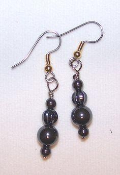 Hematite Earrings made of natural hematite by FiberandBeadBoutique, $10.00