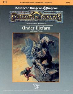 N5 Under Illefarn (1e) - Forgotten Realms | Book cover and interior art for Advanced Dungeons and Dragons 1.0 - Advanced Dungeons & Dragons, D&D, DND, AD&D, ADND, 1st Edition, 1st Ed., 1.0, 1E, OSRIC, OSR, Roleplaying Game, Role Playing Game, RPG, Wizards of the Coast, WotC, TSR Inc. | Create your own roleplaying game books w/ RPG Bard: www.rpgbard.com | Not Trusty Sword art: click artwork for source | Not Trusty Sword art: click artwork for source