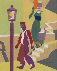 Fortunato Depero (Italian, 1892-1957), Figure di Capri, 1916. Collage of coloured papers, 35.5 x 28 cm.