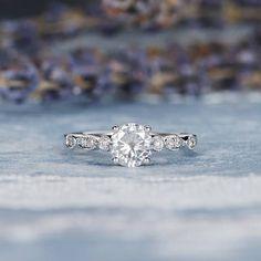 Art Deco Moissanite Engagement Ring White Gold Antique Wedding