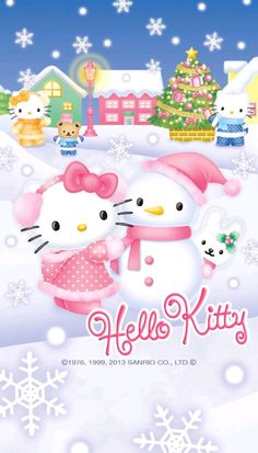 Hello Kitty Crafts, Hello Kitty Art, Hello Kitty Themes, Hello Kitty My Melody, Sanrio Hello Kitty, Hello Kitty Christmas Tree, Christmas Tree With Gifts, Christmas Cats, Hello Kitty Iphone Wallpaper