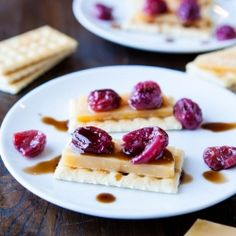 Roasted Grapes & Balsamic Reduction with Cheese and Crackers. Shriveled 'n sweet with the tang of balsamic. Easy appetizer or snack.