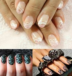 Cute Lace Nail Art in pink & white, turquoise & black and nude & black ♡