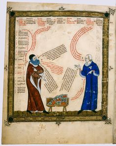 The ostentatious art of dialogue in the Middle Ages (BLB, Cod St Peter Perg 72, 1325)