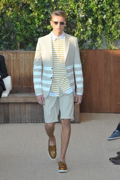 Chris: I LOVE the shorts-suit and muted stripes!!     Tommy Hilfiger Mens Spring 2013