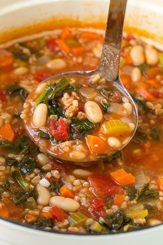 Mediterranean Kale, Cannellini and Farro Stew | Cooking Classy