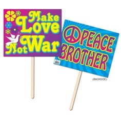 Party Supplies | 60's Party Decorations...Spread some love and peace by decorating your hippie party with these 60's Yard Signs! Each yard sign measures 12 inches x 15 inches and will let everyone know where the party is at!