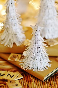 DIY Book Page Trees Made From a Vintage Christmas Carol Songbook - Thistlewood Farm