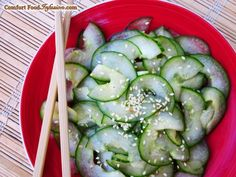 Japanese Cucumber Salad (Sunomono). Simple, cool and delicious. http://comfortfoodinfusion.com/japanese-cucumber-salad/