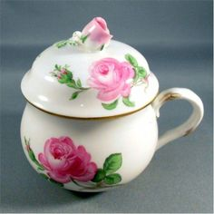 Meissen pink rose pot de creme | Pots de Creme refers to both the custard dessert as well as the small lidded pots in which the dessert is served.  The French are credited for the invention of the cups but the dessert, served in lidded cups may have evolved from English Syllabub.