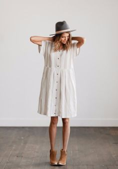 button up dress, booties; dressy casual