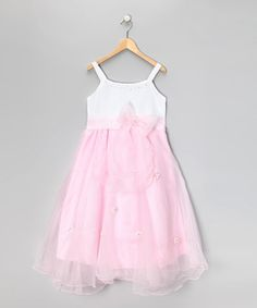 Look what I found on #zulily! White & Pink Flower Dress - Girls by Dress Up Dreams Boutique #zulilyfinds