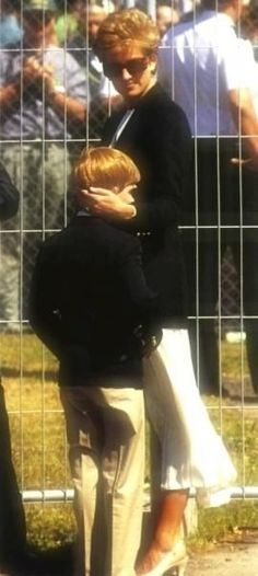 July 10, 1994: Prince Harry, along with his cousin George Mccorquodale accompanied Lady Diana to the British Grand Prix at Silverstone.: