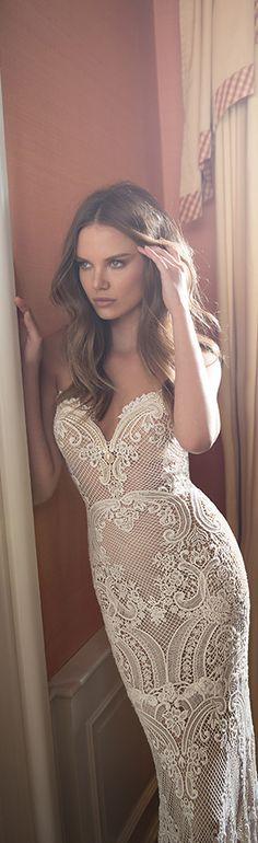 Beautiful lace details on this Berta Bridal 2015 sheath wedding dress #weddings #bridal #weddingdress