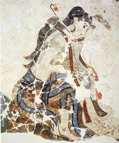 Girl from Xeste 3 Procession with wounded foot.  Fresco from Akrotiri.