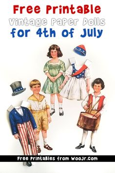Vintage of july paper dolls free printable betty bonnet Summer Activities For Kids, Summer Kids, Diy For Kids, Fourth Of July Shirts For Kids, 4th Of July Outfits, Fabulous Four, Patriotic Party, Paper Crafts For Kids, Vintage Paper Dolls