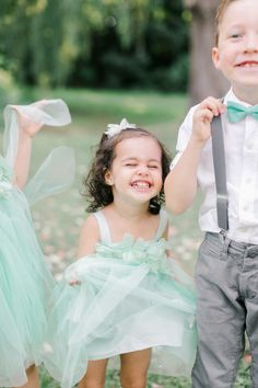 Adorable flower girl + ring bearer in teal: http://www.stylemepretty.com/canada-weddings/quebec/montreal/2016/07/20/when-a-wedding-photographer-gets-married-its-all-about-the-details/ | Photography: Richelle Hunter Photography - http://www.richellehunter.com/