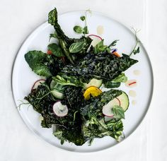 Crispy Kale Salad with Lime Dressing by bonappetit #Salad #Kale