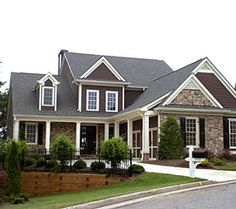 I really like dark gray with the white trim. Exterior House Painting - nice color combo with the stone House Paint Exterior, Exterior House Colors, Exterior Design, Dream Home Design, My Dream Home, House Design, Suburban House, Home Landscaping, Cute Home Decor