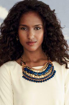 Gold Brass Bead Leather Bib Necklace   Indira Necklace   Stella & Dot