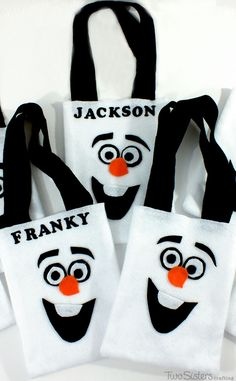 We made these Olaf Party Favor Bags for the boys at our Frozen Birthday Party. They were so cute and easy to make. You can even create a no-sew version.  For more fun Frozen Party Ideas, follow us at http://www.pinterest.com/2SistersCraft/