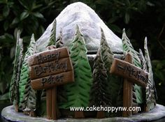 Mt. Hood themed cake for an outdoor enthusiast's birthday!