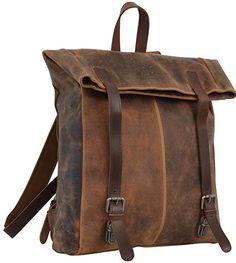 "Gusti Leder studio ""Kim"" Genuine Leather Rucksack Backpack Daysack Satchel Smart Everyday Travel Work Uni College 15.6"" Laptop Bag Unisex Brown 2M37-20-5"