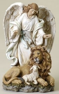Guardian Angel figurine with Lion and Lamb.