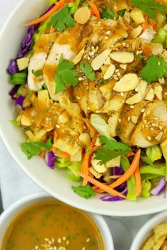 Asian Chicken Salad with a Spicy Peanut Dressing - Butter Your Biscuit