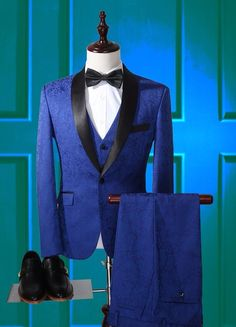 Latest Coat Pant Designs Royal Blue Pattern Shawl Lapel Formal Custom Wedding Suits For Men Slim Fit Groom 3 Pieces Terno 728