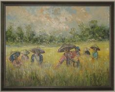 Bali Rice Field Landscape Framed Original Oil on Canvas