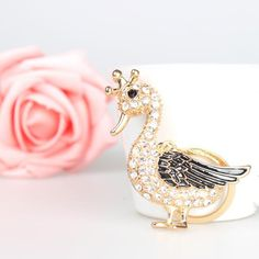 Elegant Crown Mother Goose Black-Wing Duck Key Chain Bag Car Charm Pendant with Rhinestones for Women/Ladies/Teens/Gifts