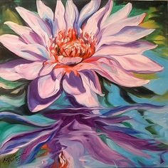 artists painting reflections in eyes   Art: WATERLILY REFLECTION by Artist Marcia Baldwin