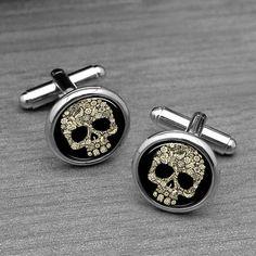 Cráneo gemelos gemelos cráneo gótico y pasador por monogramgalley