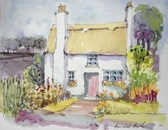 Original Water Colour Painting 'Thatched Cottage '. Signed.