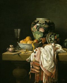Chinese vaas met fruitschaal en witte doek, Cornelius le Mair (1991)