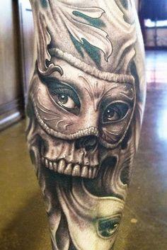 Beautiful blue flower skull tattoos Cool-Skull-Tattoo.jp