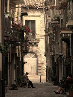 Old alley in Randazzo, Sicily, Italy