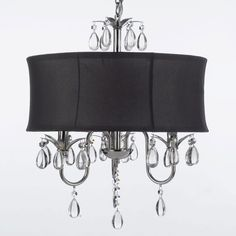 Shop for Modern Contemporary Black Drum Shade & Crystal Ceiling Chandelier Lighting Pendant Light With Faceted Crystal Balls. Get free delivery On EVERYTHING* Overstock - Your Online Ceiling Lighting Store! Plug In Chandelier, Ceiling Chandelier, Black Chandelier, Chandelier Shades, Ceiling Lights, Ceiling Fans, Chandelier Ideas, Ceiling Ideas, Lamp Shades
