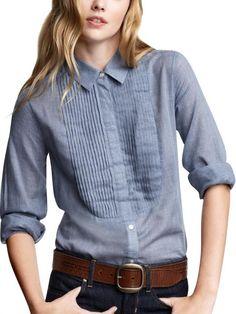 Chambray tuxedo shirt. $49.99