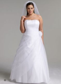 #plussize #bride #curvybrides $50-$200 off Plus Size Wedding Gowns from David's Bridal | Pretty Pear Bride | Get the Dress for $99.00 Here: http://prettypearbride.com/50-to-200-off-plus-size-wedding-gowns-from-davids-bridal/