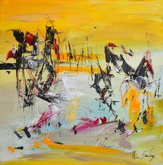 Chevauchée magique, nouveau tableau abstrait jaune format 40 x 40 cm par ÂME SAUVAGE http://www.amesauvage.com/tableau-jaune/334-tableau-abstrait-jaune.html