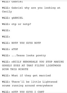 Will'a POV of Gabriel and Cecily's meeting