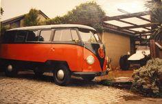 Grant & Cathie's first VW van, 1955. Street legal off-roader in background, 1600 VW tube frame Volkswagen Type 2, Vw T1, Beach Buggy, Busses, Campers, Tube, Vans, Orange, Street