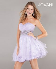 Short strapless pastel lilac purple dress with sweetheart neckline & tiered tulle ballerina skirt from Jovani (Style: 72612).