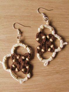 Tatted earrings - lace earrings - dangle earrings - folk earrings - boho earrings - cotton earrings - wooden beads - white and brown Lace Earrings, Dangle Earrings, Lace Making, Earring Backs, Wooden Beads, Tatting, Dangles, Brown, Cotton