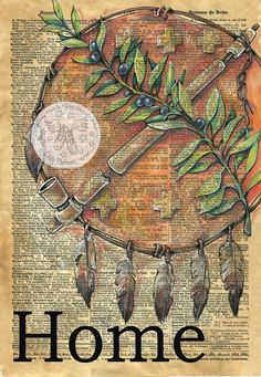 """Oklahoma """"Home"""" Mixed Media Drawing on Antique Dictionary Page - flying shoes art studio"""
